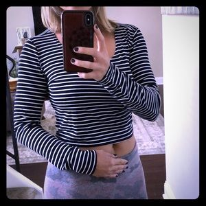 Philosophy Crop Top, Navy and White Striped